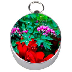 Bleeding Heart Flowers Silver Compasses by FunnyCow