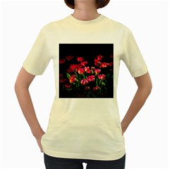Pink Tulips Dark Background Women s Yellow T Shirt by FunnyCow