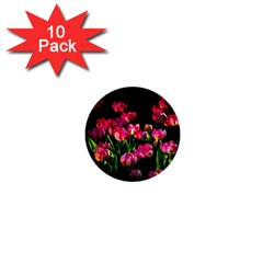 Pink Tulips Dark Background 1  Mini Buttons (10 Pack)  by FunnyCow