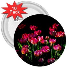 Pink Tulips Dark Background 3  Buttons (10 Pack)  by FunnyCow