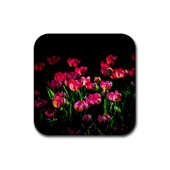 Pink Tulips Dark Background Rubber Coaster (square)  by FunnyCow