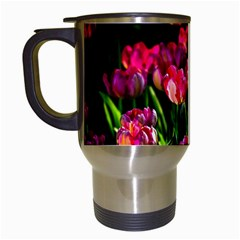 Pink Tulips Dark Background Travel Mugs (white) by FunnyCow
