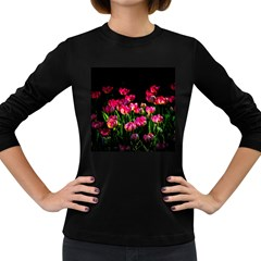 Pink Tulips Dark Background Women s Long Sleeve Dark T Shirts by FunnyCow