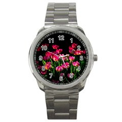 Pink Tulips Dark Background Sport Metal Watch by FunnyCow