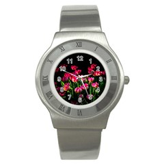Pink Tulips Dark Background Stainless Steel Watch by FunnyCow