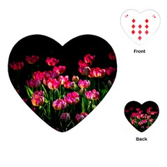 Pink Tulips Dark Background Playing Cards (heart)  by FunnyCow