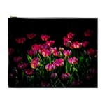Pink Tulips Dark Background Cosmetic Bag (XL) Front