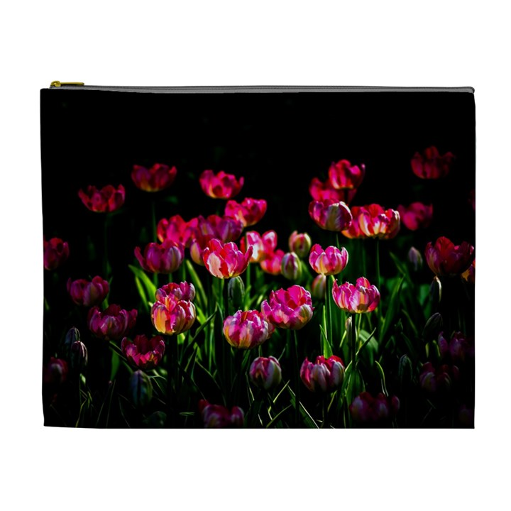 Pink Tulips Dark Background Cosmetic Bag (XL)