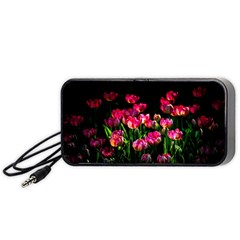 Pink Tulips Dark Background Portable Speaker by FunnyCow