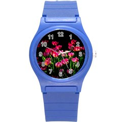 Pink Tulips Dark Background Round Plastic Sport Watch (s) by FunnyCow