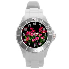 Pink Tulips Dark Background Round Plastic Sport Watch (l) by FunnyCow