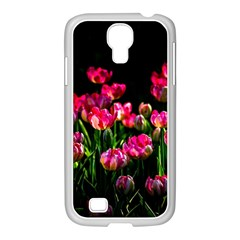 Pink Tulips Dark Background Samsung Galaxy S4 I9500/ I9505 Case (white) by FunnyCow
