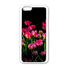 Pink Tulips Dark Background Apple Iphone 6/6s White Enamel Case by FunnyCow