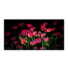 Pink Tulips Dark Background Satin Wrap by FunnyCow