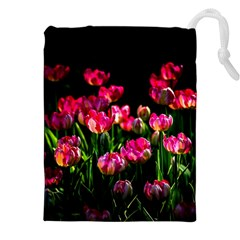 Pink Tulips Dark Background Drawstring Pouches (xxl) by FunnyCow