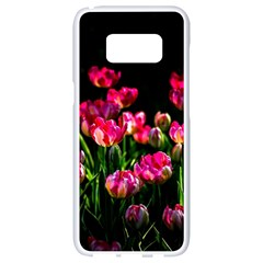 Pink Tulips Dark Background Samsung Galaxy S8 White Seamless Case by FunnyCow