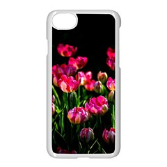 Pink Tulips Dark Background Apple Iphone 8 Seamless Case (white) by FunnyCow