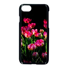 Pink Tulips Dark Background Apple Iphone 8 Seamless Case (black) by FunnyCow