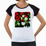 White And Red Sunlit Tulips Women s Cap Sleeve T Front