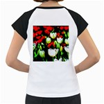 White And Red Sunlit Tulips Women s Cap Sleeve T Back