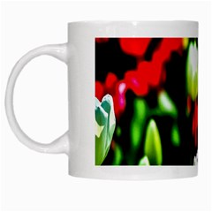 White And Red Sunlit Tulips White Mugs by FunnyCow