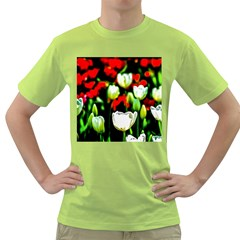 White And Red Sunlit Tulips Green T Shirt by FunnyCow
