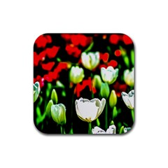 White And Red Sunlit Tulips Rubber Coaster (square)  by FunnyCow