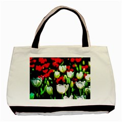 White And Red Sunlit Tulips Basic Tote Bag (two Sides) by FunnyCow
