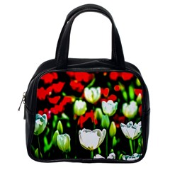 White And Red Sunlit Tulips Classic Handbags (one Side) by FunnyCow