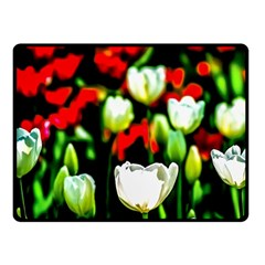 White And Red Sunlit Tulips Fleece Blanket (small) by FunnyCow