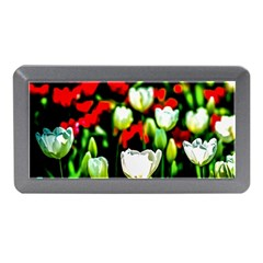White And Red Sunlit Tulips Memory Card Reader (mini) by FunnyCow