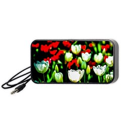 White And Red Sunlit Tulips Portable Speaker by FunnyCow