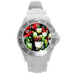 White And Red Sunlit Tulips Round Plastic Sport Watch (l) by FunnyCow