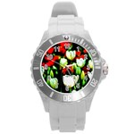 White And Red Sunlit Tulips Round Plastic Sport Watch (L) Front