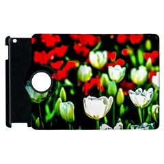 White And Red Sunlit Tulips Apple Ipad 3/4 Flip 360 Case by FunnyCow