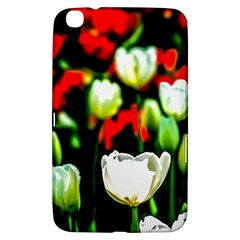 White And Red Sunlit Tulips Samsung Galaxy Tab 3 (8 ) T3100 Hardshell Case  by FunnyCow