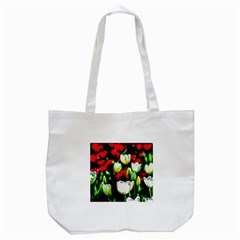 White And Red Sunlit Tulips Tote Bag (white) by FunnyCow