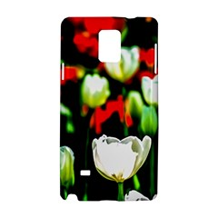 White And Red Sunlit Tulips Samsung Galaxy Note 4 Hardshell Case by FunnyCow
