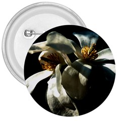 Two White Magnolia Flowers 3  Buttons by FunnyCow