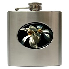 Two White Magnolia Flowers Hip Flask (6 Oz) by FunnyCow