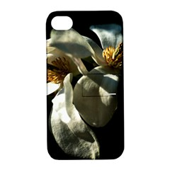 Two White Magnolia Flowers Apple Iphone 4/4s Hardshell Case With Stand by FunnyCow