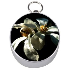 Two White Magnolia Flowers Silver Compasses by FunnyCow