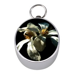 Two White Magnolia Flowers Mini Silver Compasses by FunnyCow