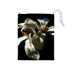 Two White Magnolia Flowers Drawstring Pouches (medium)  by FunnyCow