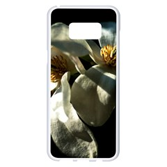 Two White Magnolia Flowers Samsung Galaxy S8 Plus White Seamless Case by FunnyCow