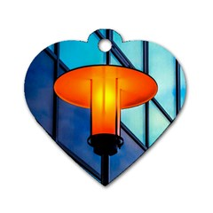 Orange Light Dog Tag Heart (one Side) by FunnyCow