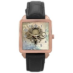 Awesome Creepy Skull With  Wings Rose Gold Leather Watch  by FantasyWorld7