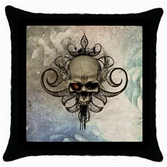Awesome Creepy Skull With  Wings Throw Pillow Case (black) by FantasyWorld7