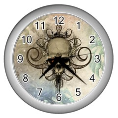 Awesome Creepy Skull With  Wings Wall Clock (silver)