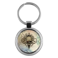 Awesome Creepy Skull With  Wings Key Chains (round)  by FantasyWorld7